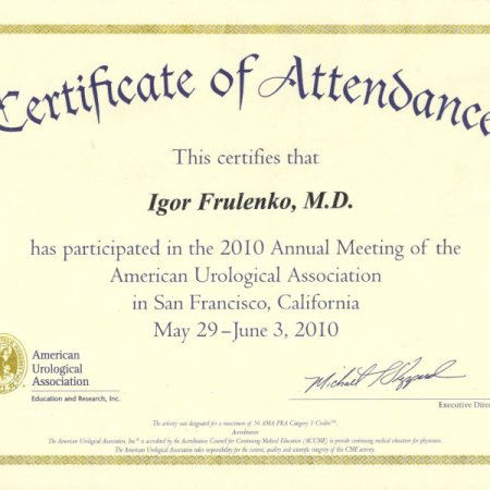 2010 - San Francisco - Annual Meeting of the American Urologycal Assosiation