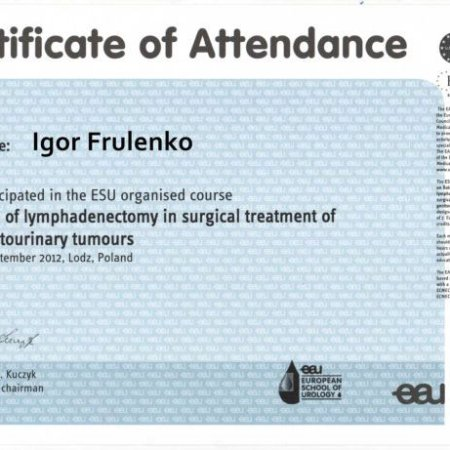 "2012 - Łódź - ""Role of lymphadenectomy in surgical treatment of genitourinary tumors"" ESU course"