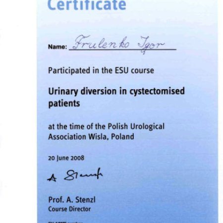 "2008 - Wisła - ""Urinary diversion in cystectomised patients"" - ESU Course"